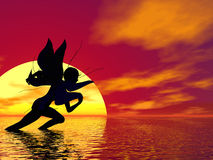 Sprinting Fairy. Fairy sprinting across a sunset landscape Royalty Free Stock Images