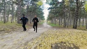 Sprinting runner men. Running at fast speed. Male sport sprinters training hard. Young strong male fitness models during run outdoors in beautiful landscape stock video footage