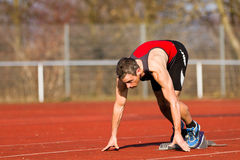 Sprinting start in track and field Royalty Free Stock Images