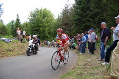 Sprinting on a steep slope. The first cyclist of the group is beginning alone the steep slope of Zoncolan mountain during the last Giro d'Italia 2010 (lap 15 on Royalty Free Stock Photo