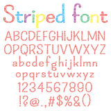 Spriped font. Alphabet, numbers, punctuation marks. One letter, one compound path royalty free illustration