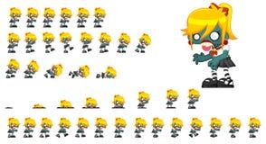 Sprite animate del carattere dello zombie illustrazione di stock