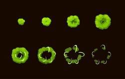 Sprite-bladanimatie van beeldverhaal zure giftige explosie Stock Afbeeldingen