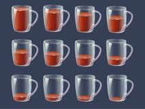 Sprite-Blattanimationsgetränk - voll, halb volle, leere klare glas lizenzfreie abbildung