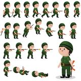 Sprite del carattere del soldato per i giochi, animazioni Fotografie Stock Libere da Diritti