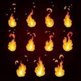 Sprite prześcieradło ogień, pochodnia Animacja dla gry lub kreskówki Obrazy Royalty Free