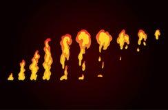 Sprite prześcieradło ogień, pochodnia Animacja dla gry lub kreskówki Obraz Stock