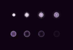 Sprite sheet for cartoon electric star plasma explosion, mobile, flash game effect animation. 8 frames on dark Stock Photos