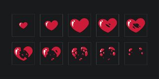 A sprite sheet,explosion of a heart. Animation for a game or a cartoon. royalty free illustration