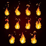Sprite sheet of fire, torch. Animation for game or cartoon. Vector illustration sprite sheet of fire Royalty Free Stock Images