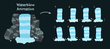 Sprite sheet of a waterfall. Waterfall animation for game design. royalty free illustration