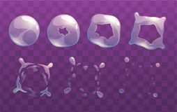 Sprite trasparenti di scoppio della bolla di sapone illustrazione vettoriale