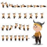 Sprites del carácter de Viking para los juegos Imagen de archivo libre de regalías