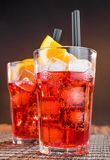 Spritz aperitif aperol cocktail glasses with orange slices and ice cubes Royalty Free Stock Image