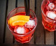 Spritz aperitif aperol cocktail with orange slices and ice cubes Royalty Free Stock Photos