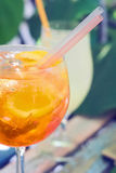 Spritz aperol cocktail,  selective focus. One glass of spritz aperol cocktail with orange slices Royalty Free Stock Photo