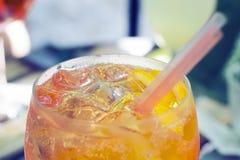 Spritz aperol cocktail,  selective focus. One glass of spritz aperol cocktail with orange slices Stock Photo