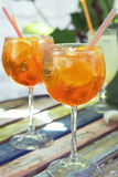 Spritz aperol cocktail,  selective focus. Two glasses of spritz aperol cocktail with orange slices Royalty Free Stock Photography