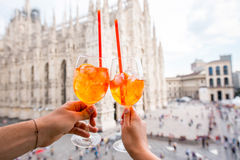 Spritz aperol drink in Milan Stock Images