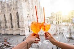 Spritz aperol drink in Milan royalty free stock photos