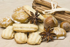 Spritz biscuit and gingerbread. Several sorts of Cookies and spice royalty free stock photo