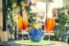 Spritz Cocktail glasses Stock Image