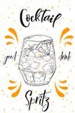 Spritz coctailen Hand dragen drink på vit bakgrund också vektor för coreldrawillustration stock illustrationer