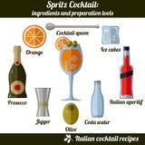 Spritz coctailen Infographic ställde in av isolerade beståndsdelar på vit bakgrund stock illustrationer