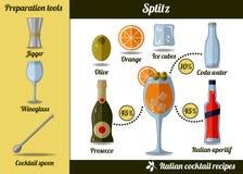 Spritz coctailen Infographic uppsättning, receptillustration stock illustrationer
