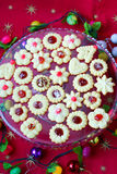 Spritz cookies filled with jam Royalty Free Stock Images