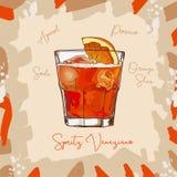 Spritz Veneziano ery Nowego napoju koktajlu klasyczną ilustrację Alkoholiczka baru napoju ręka rysujący wektor Wystrzał sztuka royalty ilustracja