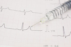 Spritze auf EKG-Herzblatt Lizenzfreie Stockbilder
