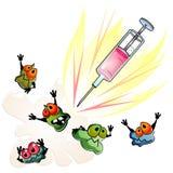 Spritze ist gegen Mikroben Stockbild
