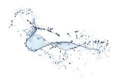 Spritzen des blauen Wassers getrennt auf wei?em Hintergrund lizenzfreie stockfotos