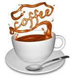 Spritzen des Kaffees Stockfotos