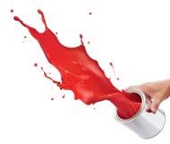 Spritzen des roten Lackes Stockfotos