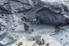 Spritzen des Schlammes an geothermischem Bereich Krafla, See Myvatn, Island, Europa lizenzfreie stockbilder