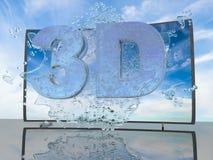 Spritzen des Wassers vom Fernsehschirm auf einem Hintergrund einer Sonnenunterganglandschaft, mit Symbolen 3D und 4K, 3d übertrag Lizenzfreie Stockbilder