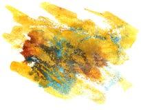 Spritzen Sie blaues, gelbes Farbenfleck Watercolourfarbwasser-Tinte isola Stockfotografie
