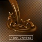 Spritzen und Rauschschokoladenflüssigkeit für Designgebrauch lokalisierte Illustration 3d stock abbildung