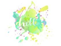 Spritzen von Farbe und Beschriftung ` hallo ` vektor abbildung