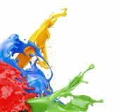 Spritzen von Farben stockbilder