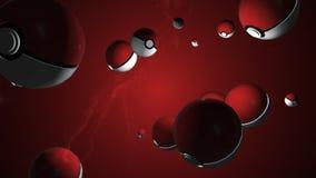 Spritzen von pokeball Animation 3D Gegenstandspinnen stock abbildung