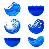 Spritzen von Wellen und von Wasserlogos Abstrakte Vektorzeichen Stockfotografie