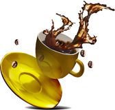 Spritzenkaffeegold lizenzfreies stockbild