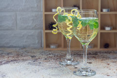 Free Spritzer Cocktail With White Wine, Mint And Ice, Decorated With Spiral Lemon Zest, Copy Space Stock Photography - 80467692