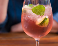 Spritzer. A spritzer made of wine and mineral water stock photos