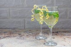 Spritzercoctailen med vitt vin, mintkaramell och is, dekorerade med spiral citronpiff, kopieringsutrymme Arkivfoton