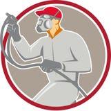 Spritzlackierer-Paint Gun Spraying-Kreis Retro- Lizenzfreies Stockbild