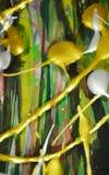 Spritzt silbrige rote Farben des abstrakten Wachses grünes Gold, Bürste streicht Aquarellfarbe Aquarellfarben-Zusammenfassungshin Lizenzfreie Stockfotos